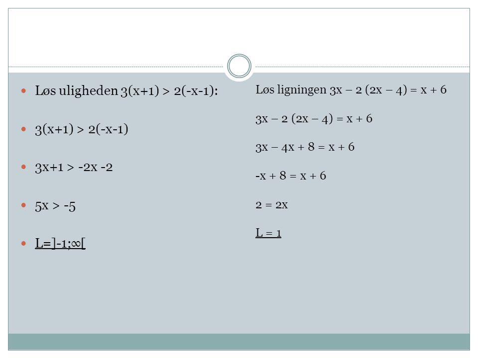 Løs uligheden 3(x+1) > 2(-x-1): 3(x+1) > 2(-x-1)