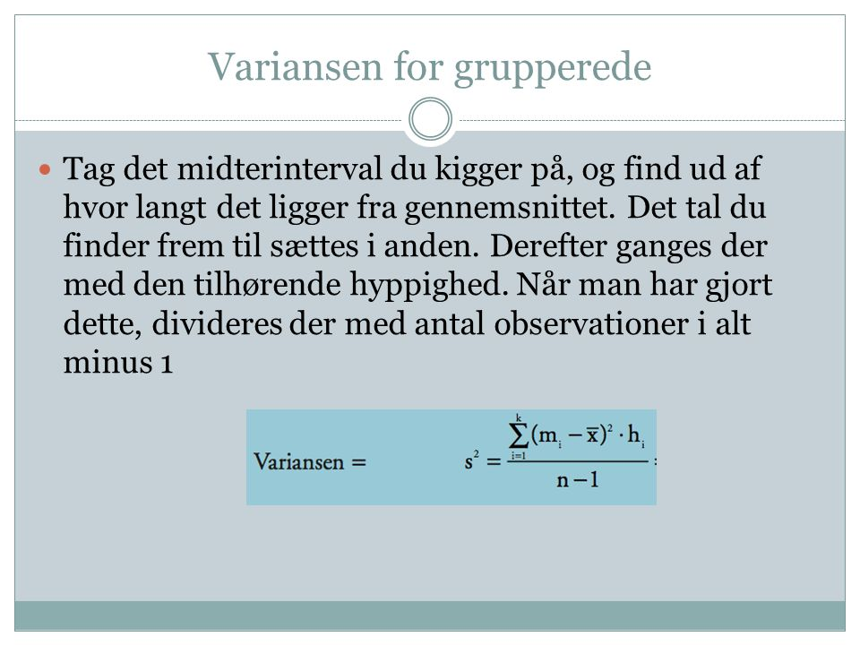 Variansen for grupperede