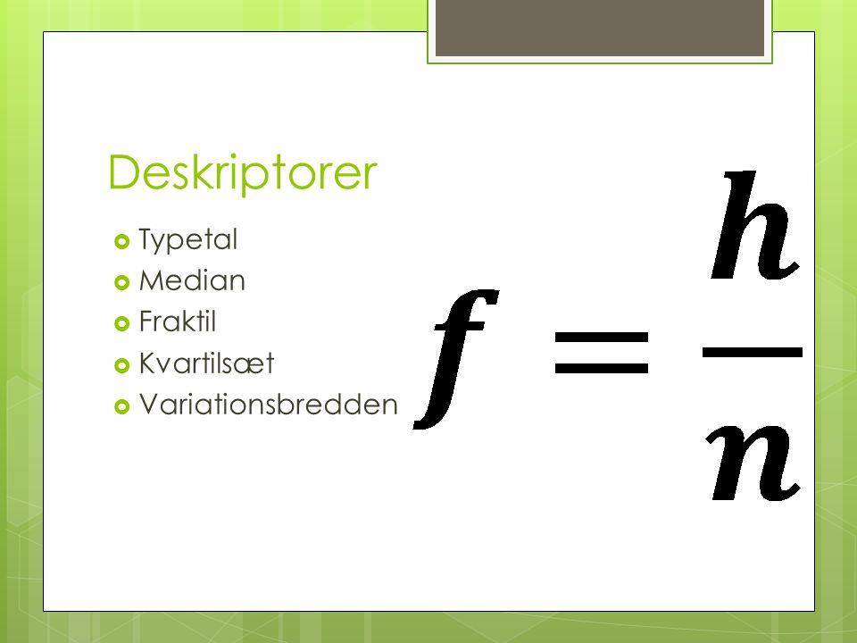 Deskriptorer Typetal Median Fraktil Kvartilsæt Variationsbredden