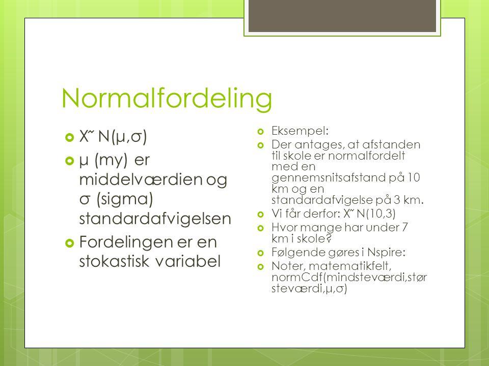 Normalfordeling X ᷉ N(μ,σ)