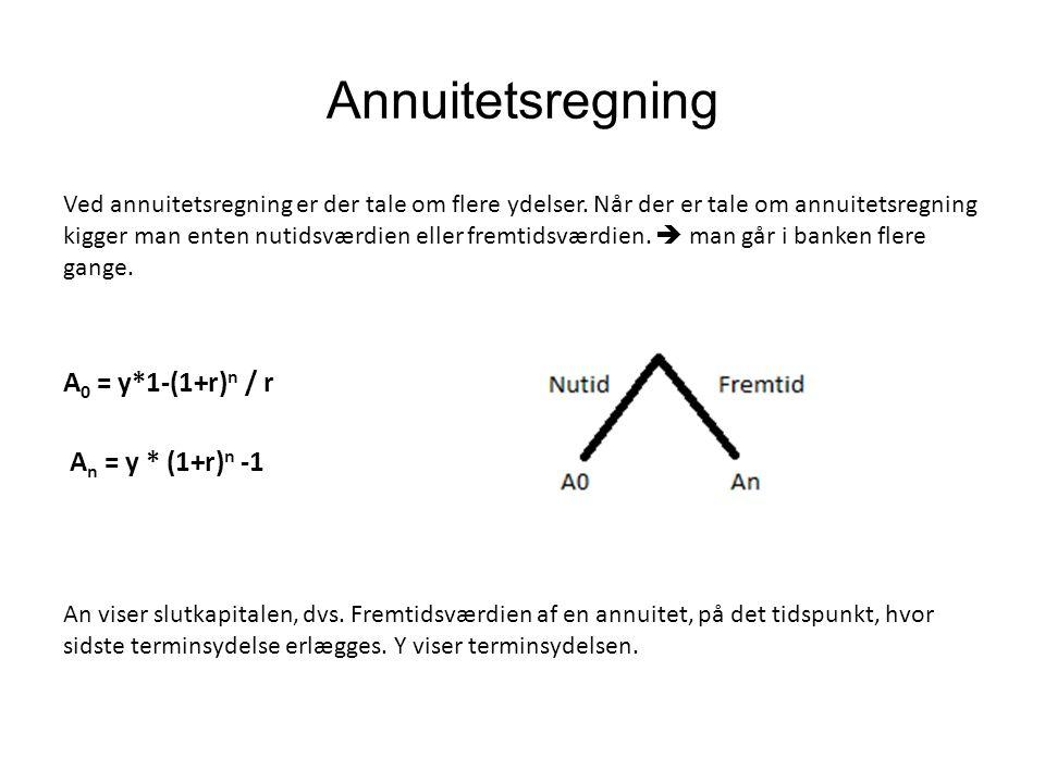Annuitetsregning A0 = y*1-(1+r)n / r An = y * (1+r)n -1