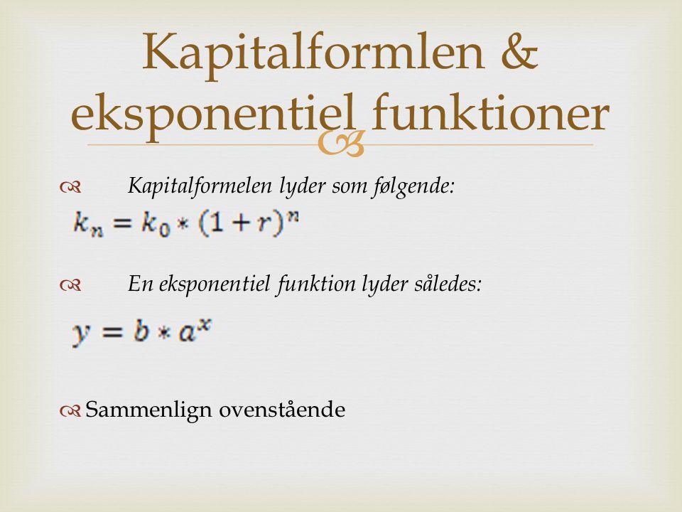Kapitalformlen & eksponentiel funktioner