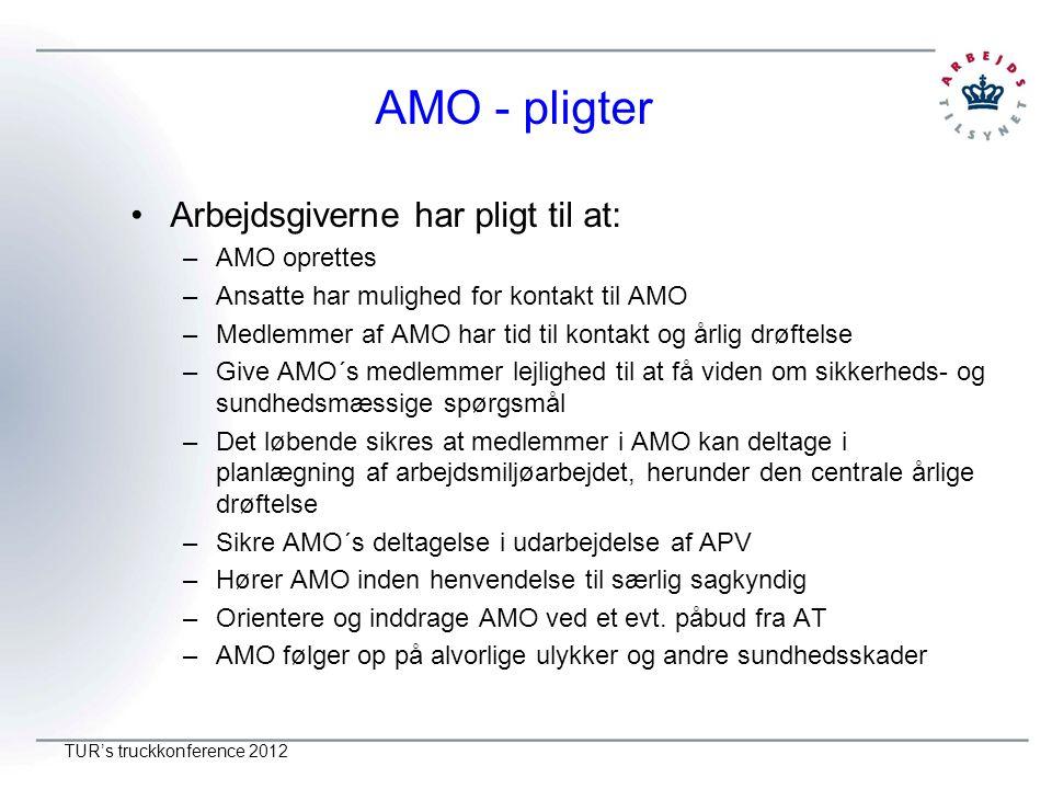 AMO - pligter Arbejdsgiverne har pligt til at: AMO oprettes