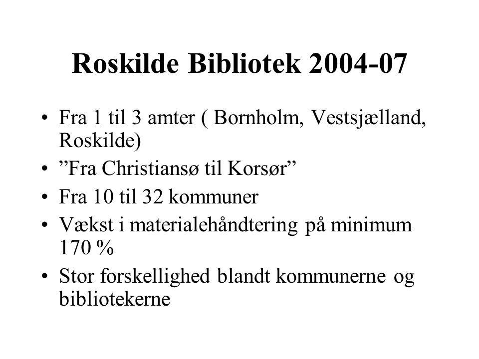 Roskilde Bibliotek 2004-07 Fra 1 til 3 amter ( Bornholm, Vestsjælland, Roskilde) Fra Christiansø til Korsør