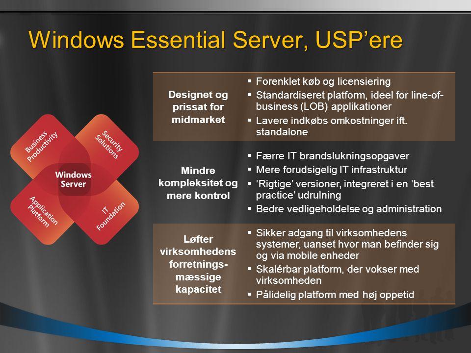 Windows Essential Server, USP'ere