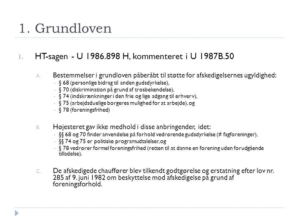 1. Grundloven HT-sagen - U 1986.898 H, kommenteret i U 1987B.50
