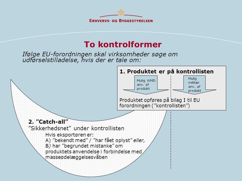 To kontrolformer Ifølge EU-forordningen skal virksomheder søge om udførselstilladelse, hvis der er tale om: