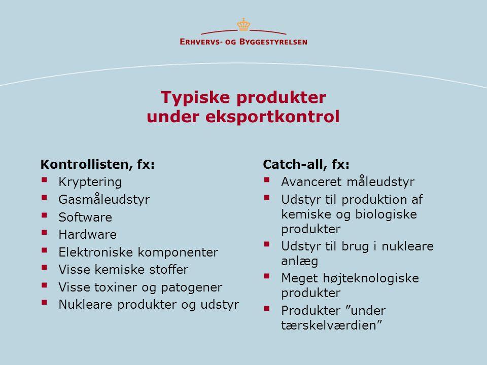 Typiske produkter under eksportkontrol