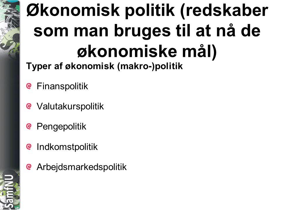 Økonomisk politik (redskaber som man bruges til at nå de økonomiske mål)