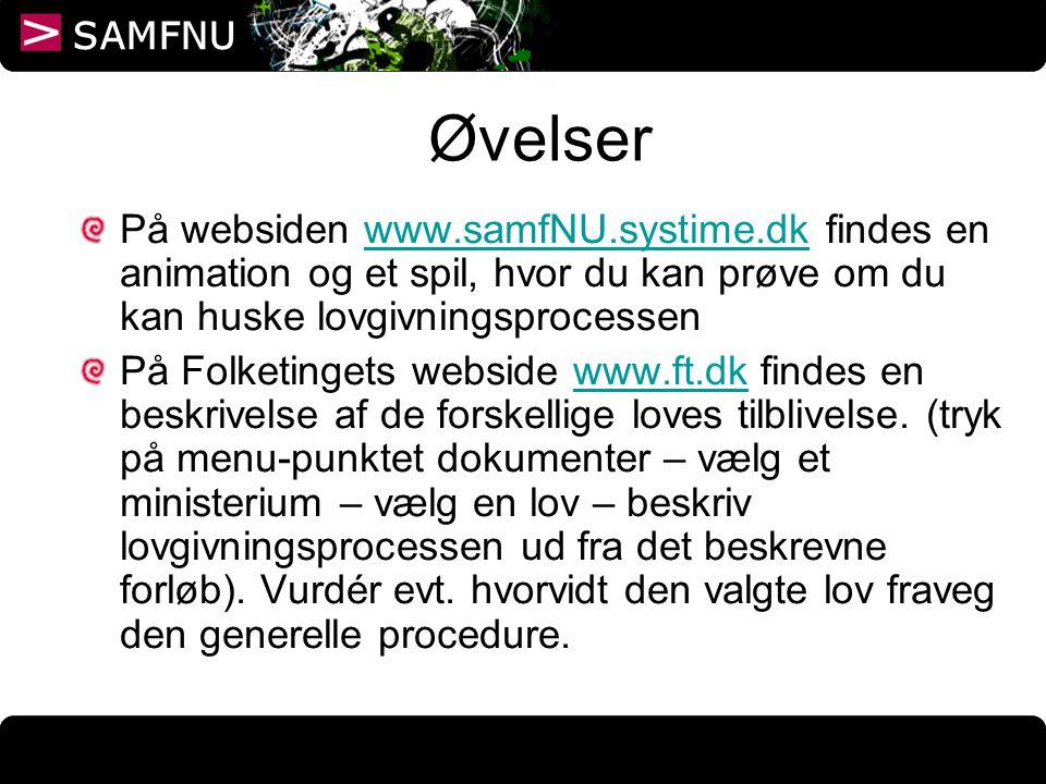 Øvelser På websiden www.samfNU.systime.dk findes en animation og et spil, hvor du kan prøve om du kan huske lovgivningsprocessen.