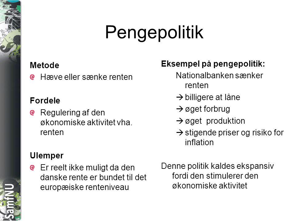 Pengepolitik Metode Eksempel på pengepolitik: Hæve eller sænke renten