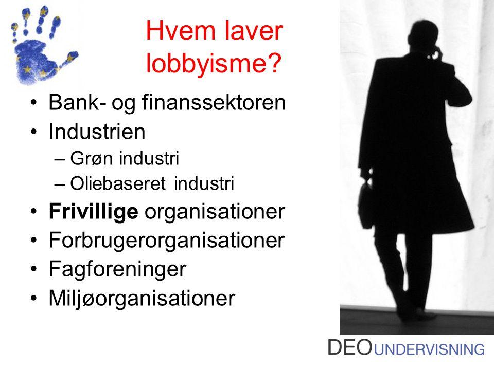 Hvem laver lobbyisme Bank- og finanssektoren Industrien