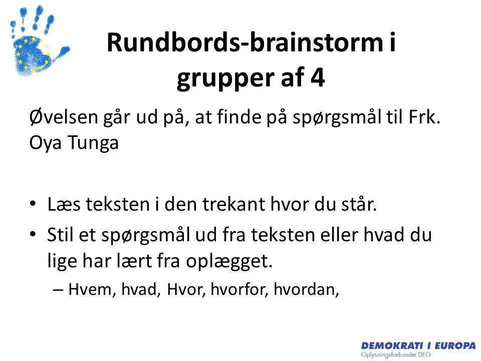 Rundbords-brainstorm i grupper af 4