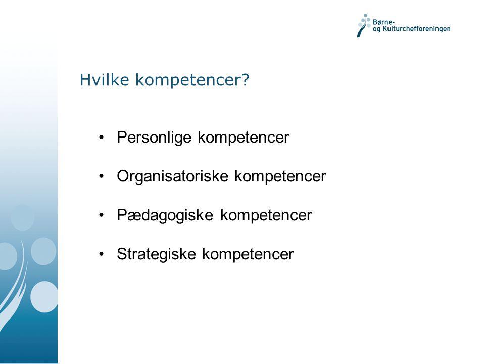 Hvilke kompetencer Personlige kompetencer. Organisatoriske kompetencer. Pædagogiske kompetencer.