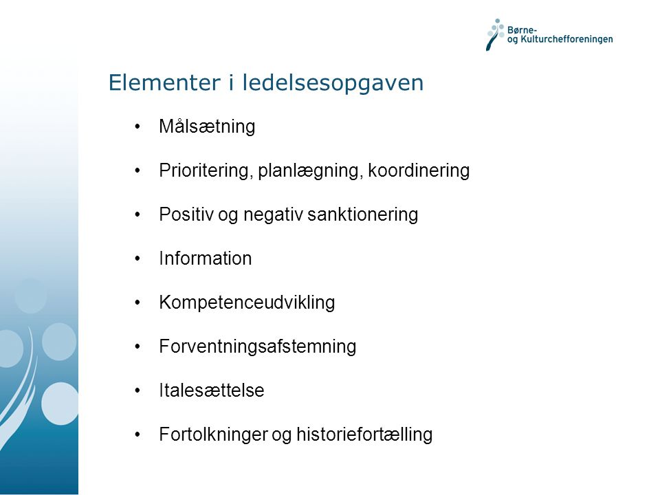 Elementer i ledelsesopgaven