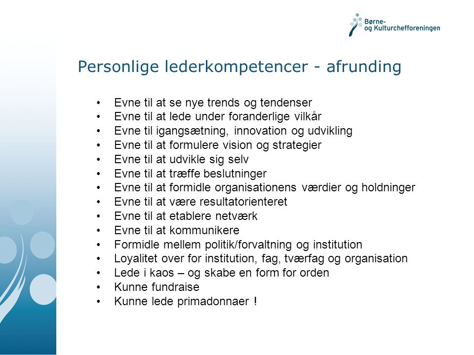 Personlige lederkompetencer - afrunding