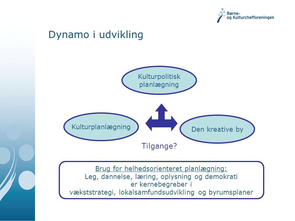 Dynamo i udvikling Tilgange Kulturpolitisk planlægning