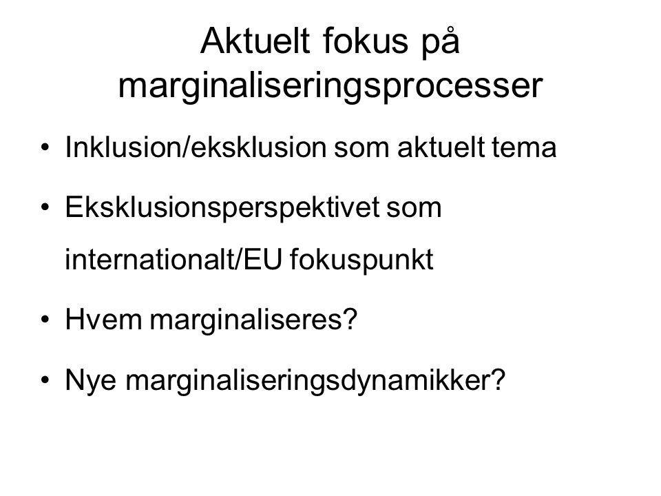 Aktuelt fokus på marginaliseringsprocesser