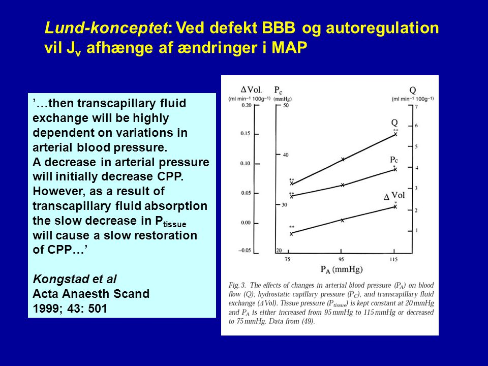 Lund-konceptet: Ved defekt BBB og autoregulation