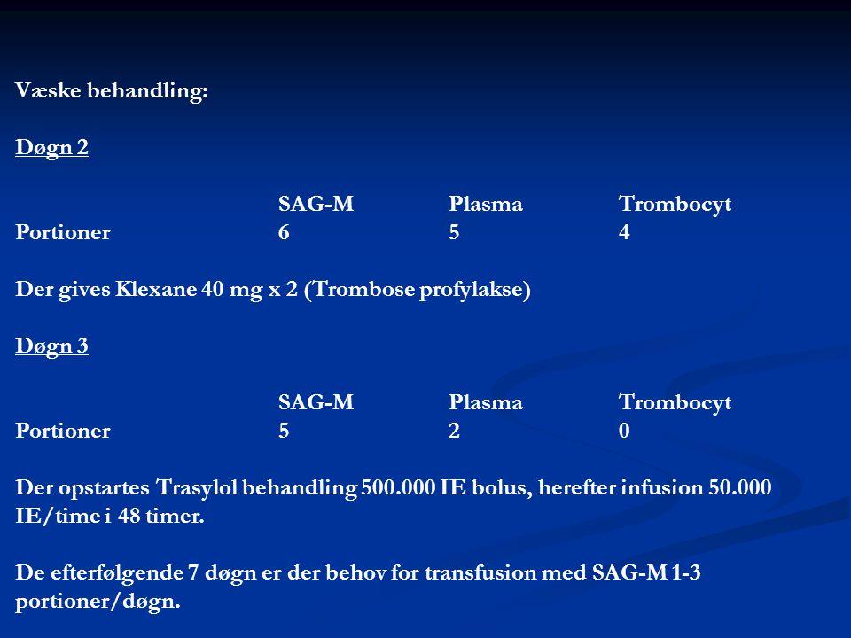 Væske behandling: Døgn 2. SAG-M Plasma Trombocyt. Portioner 6 5 4. Der gives Klexane 40 mg x 2 (Trombose profylakse)