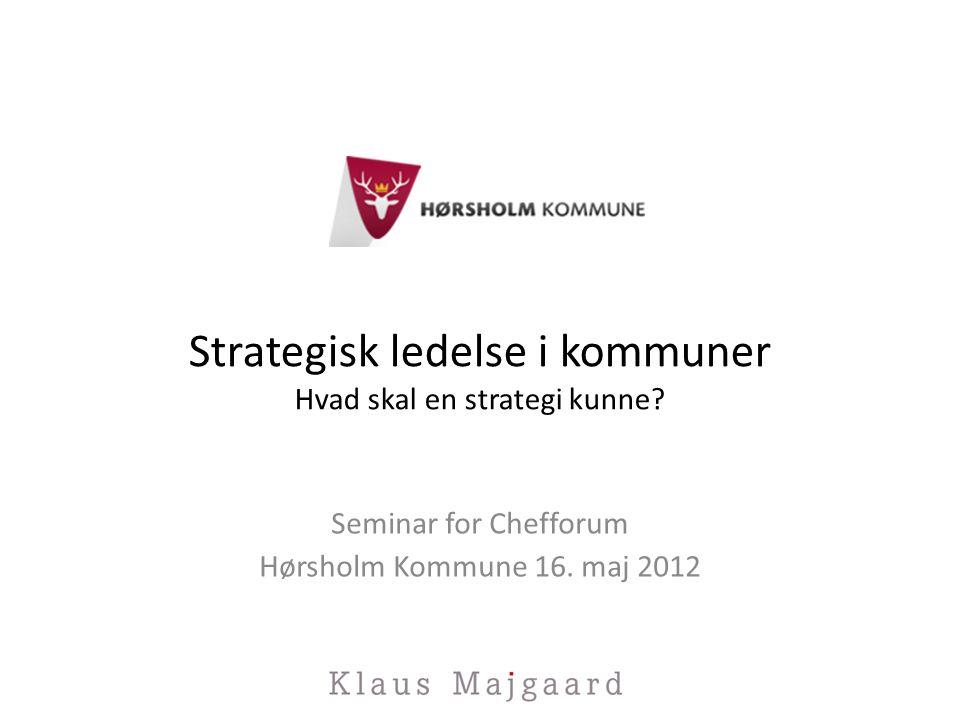 Strategisk ledelse i kommuner Hvad skal en strategi kunne