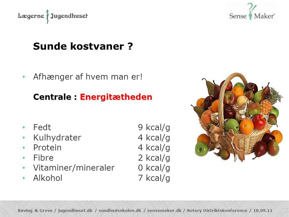 Sunde kostvaner Afhænger af hvem man er! Centrale : Energitætheden
