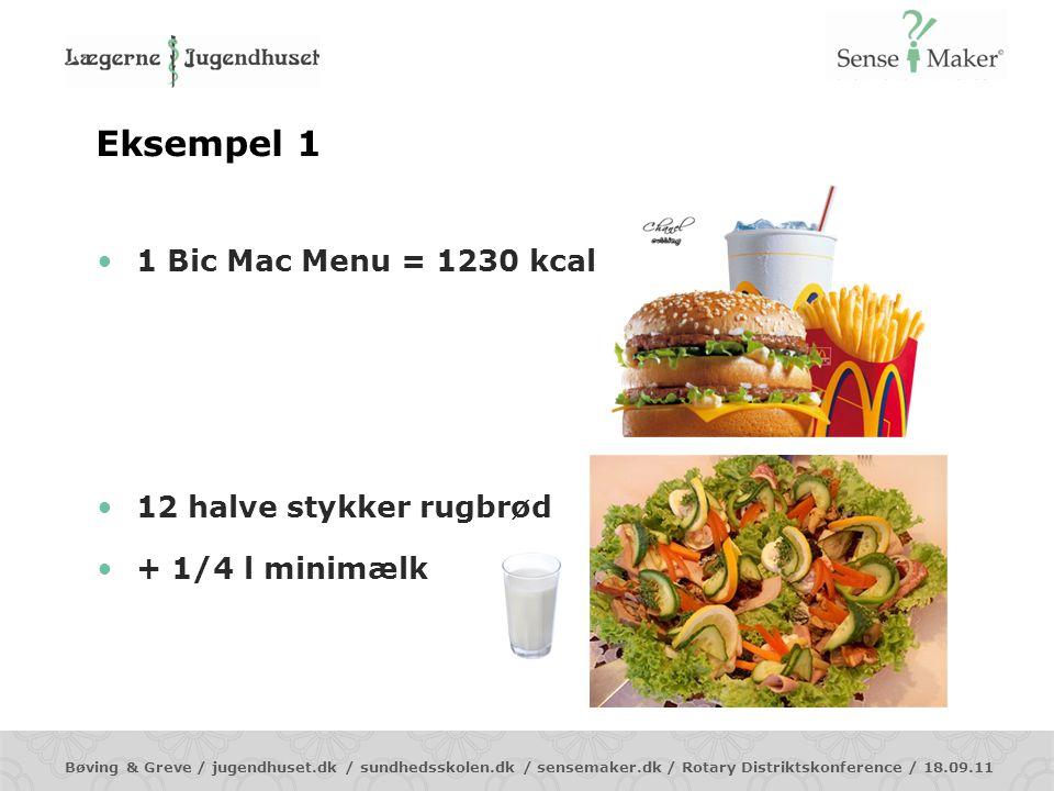 Eksempel 1 1 Bic Mac Menu = 1230 kcal 12 halve stykker rugbrød