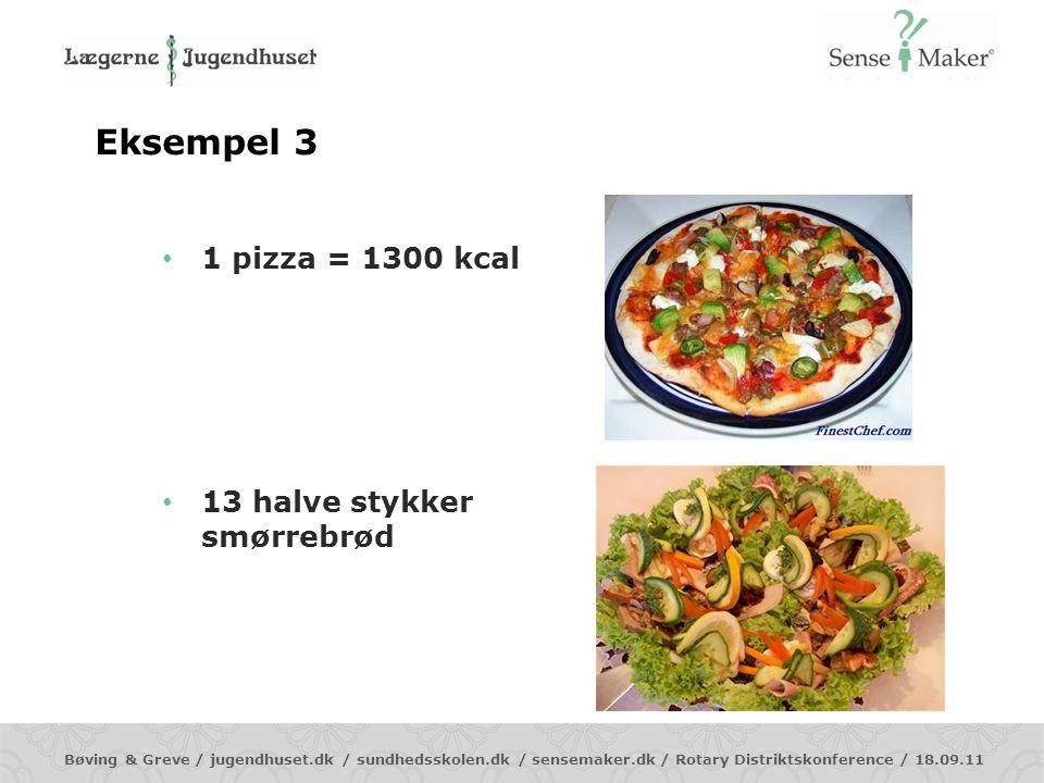 Eksempel 3 1 pizza = 1300 kcal 13 halve stykker smørrebrød