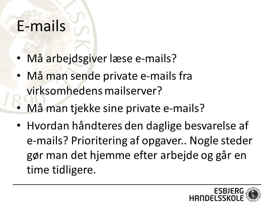 E-mails Må arbejdsgiver læse e-mails