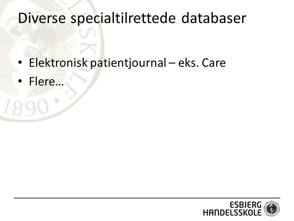 Diverse specialtilrettede databaser