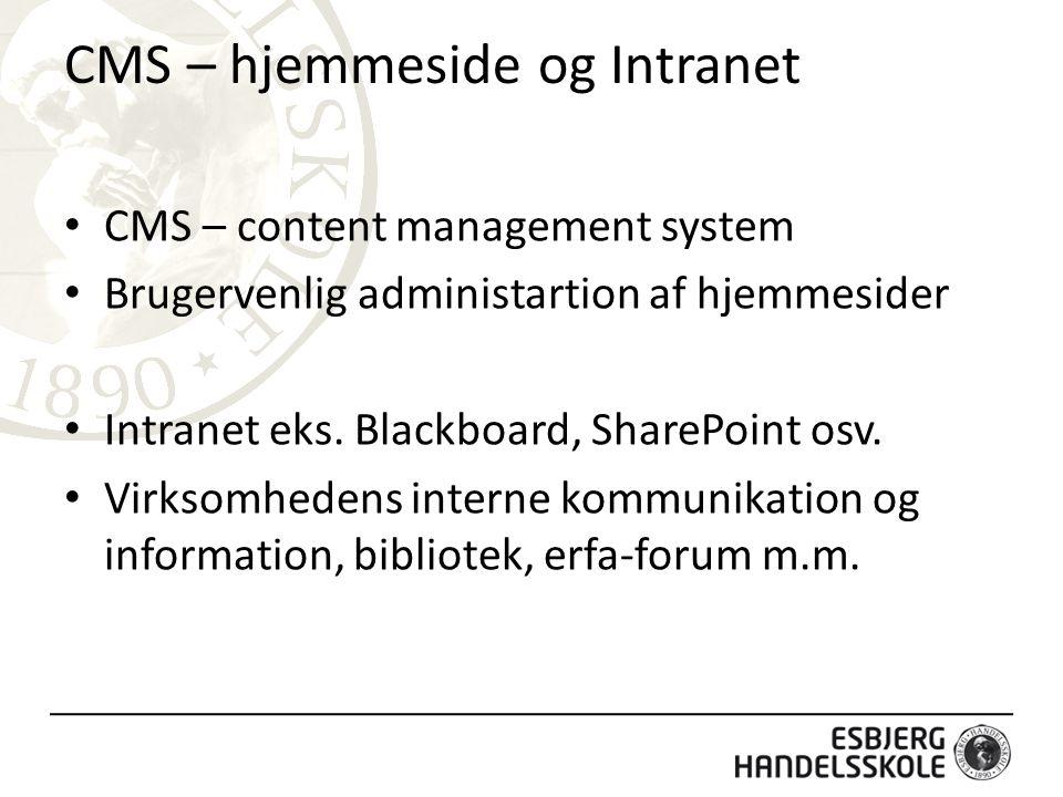 CMS – hjemmeside og Intranet