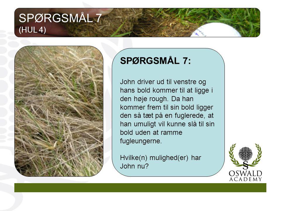 SPØRGSMÅL 7 SPØRGSMÅL 7: (HUL 4)