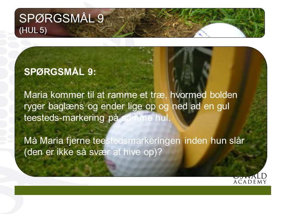 SPØRGSMÅL 9 (HUL 5) SPØRGSMÅL 9: