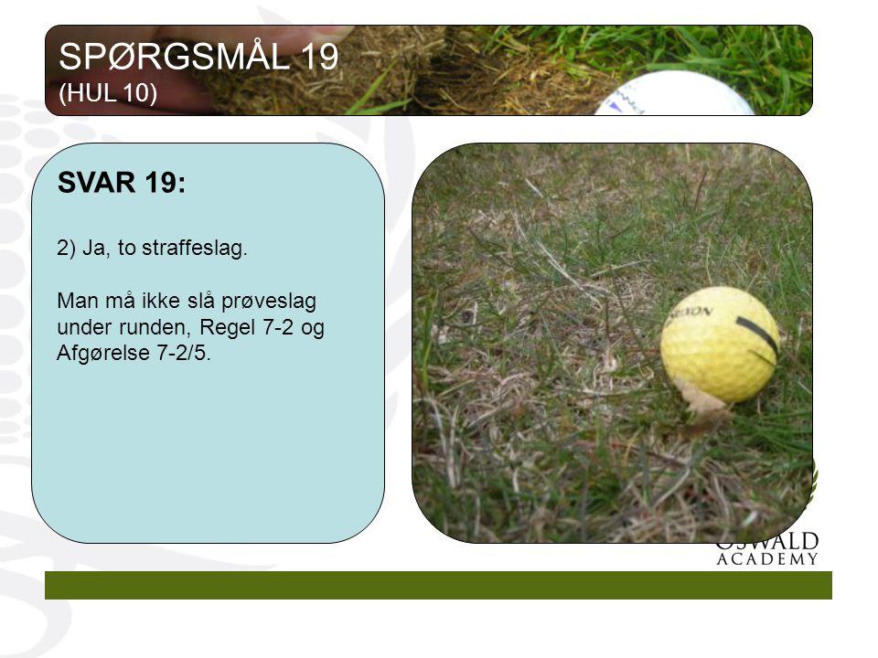 SPØRGSMÅL 19 SVAR 19: (HUL 10) 2) Ja, to straffeslag.