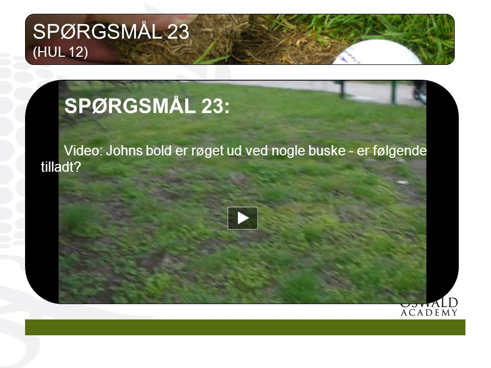 SPØRGSMÅL 23 SPØRGSMÅL 23: (HUL 12)