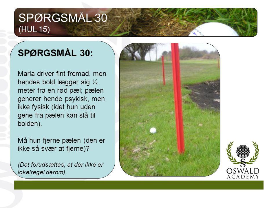 SPØRGSMÅL 30 SPØRGSMÅL 30: (HUL 15)