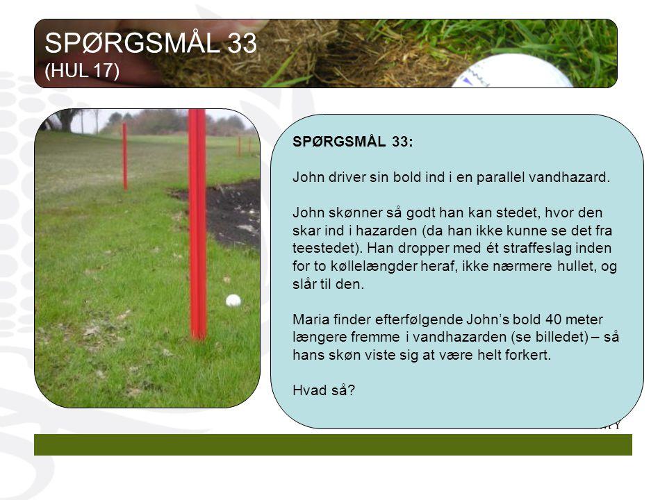SPØRGSMÅL 33 (HUL 17) SPØRGSMÅL 33: