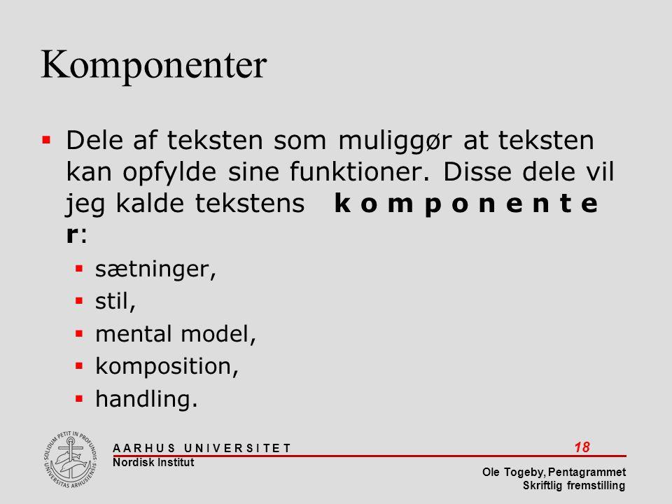 Komponenter Dele af teksten som muliggør at teksten kan opfylde sine funktioner. Disse dele vil jeg kalde tekstens k o m p o n e n t e r: