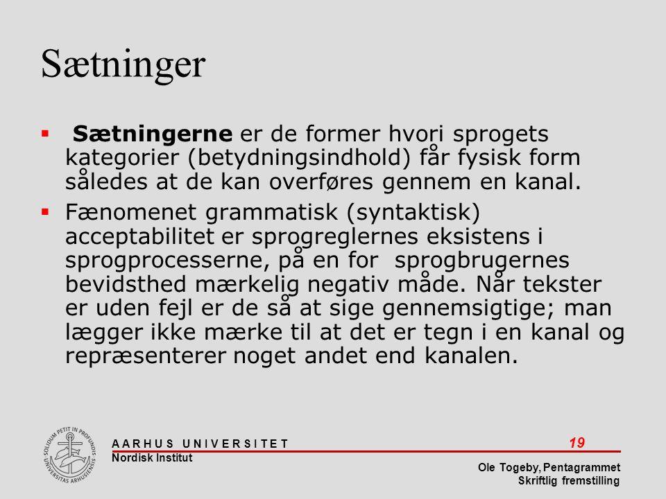 Sætninger Sætningerne er de former hvori sprogets kategorier (betydningsindhold) får fysisk form således at de kan overføres gennem en kanal.