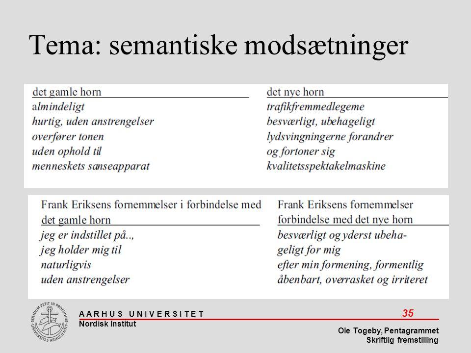 Tema: semantiske modsætninger