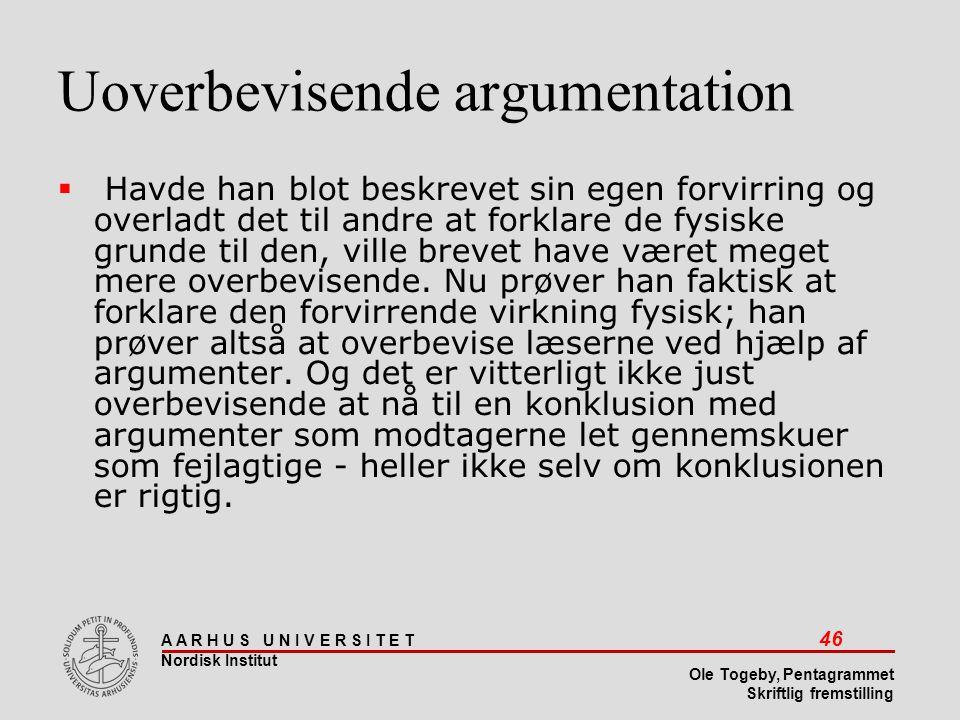 Uoverbevisende argumentation