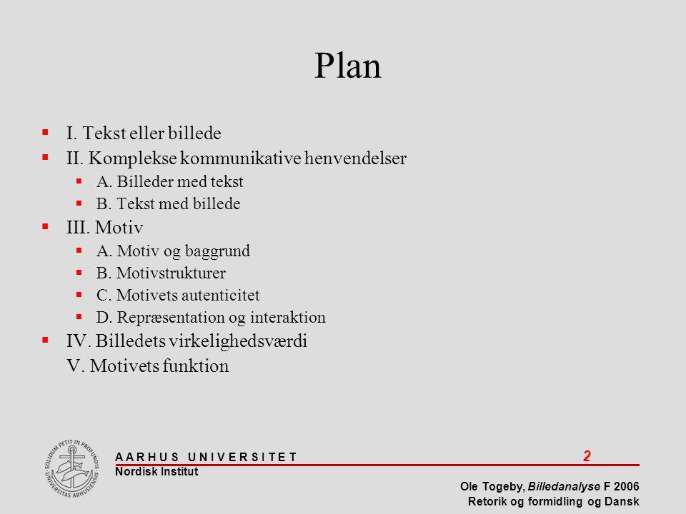 Plan I. Tekst eller billede II. Komplekse kommunikative henvendelser
