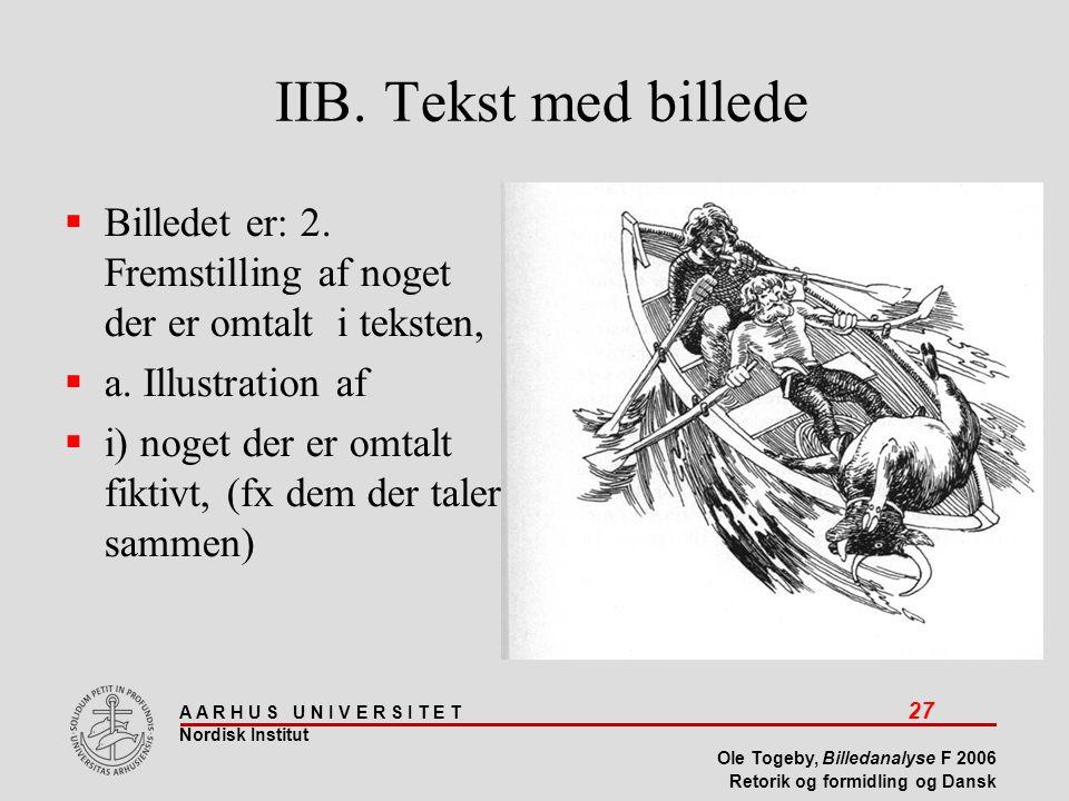IIB. Tekst med billede Billedet er: 2. Fremstilling af noget der er omtalt i teksten, a. Illustration af.