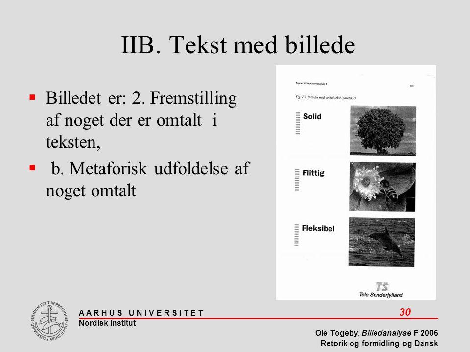 IIB. Tekst med billede Billedet er: 2. Fremstilling af noget der er omtalt i teksten, b.
