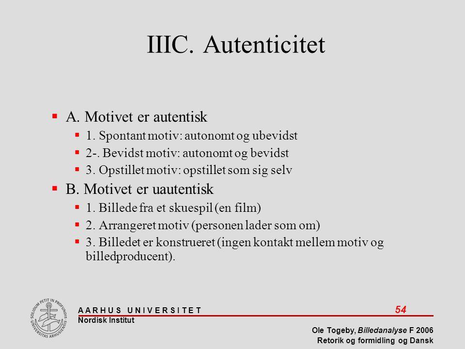 IIIC. Autenticitet A. Motivet er autentisk B. Motivet er uautentisk