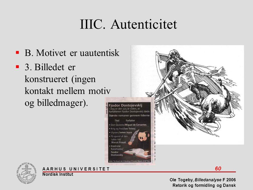IIIC. Autenticitet B. Motivet er uautentisk