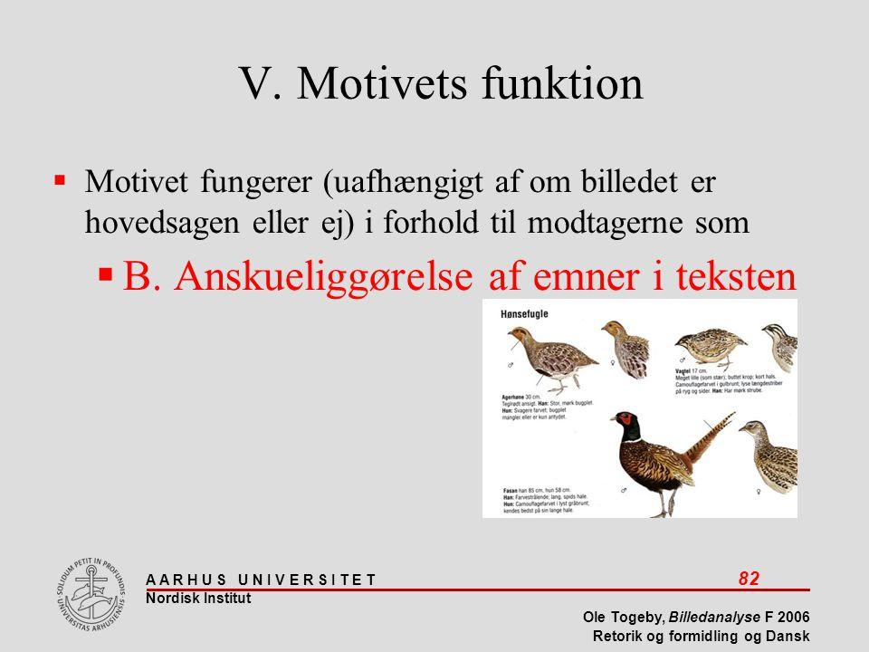 V. Motivets funktion B. Anskueliggørelse af emner i teksten