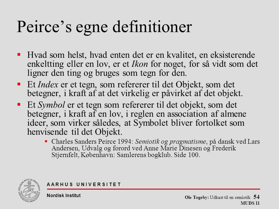 Peirce's egne definitioner