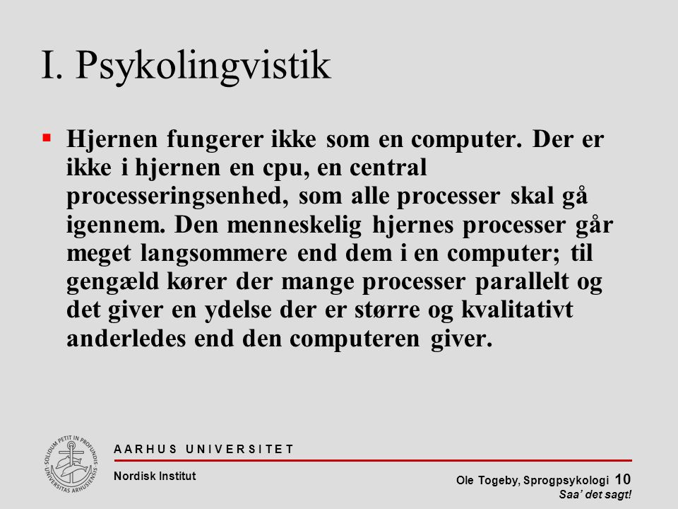 I. Psykolingvistik