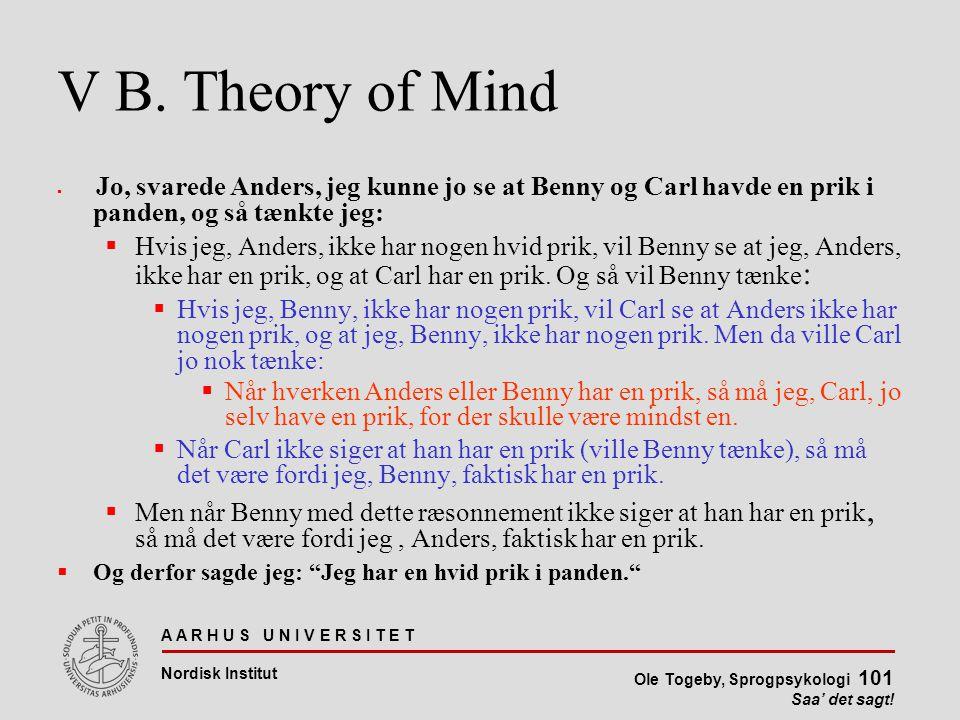 V B. Theory of Mind Jo, svarede Anders, jeg kunne jo se at Benny og Carl havde en prik i panden, og så tænkte jeg:
